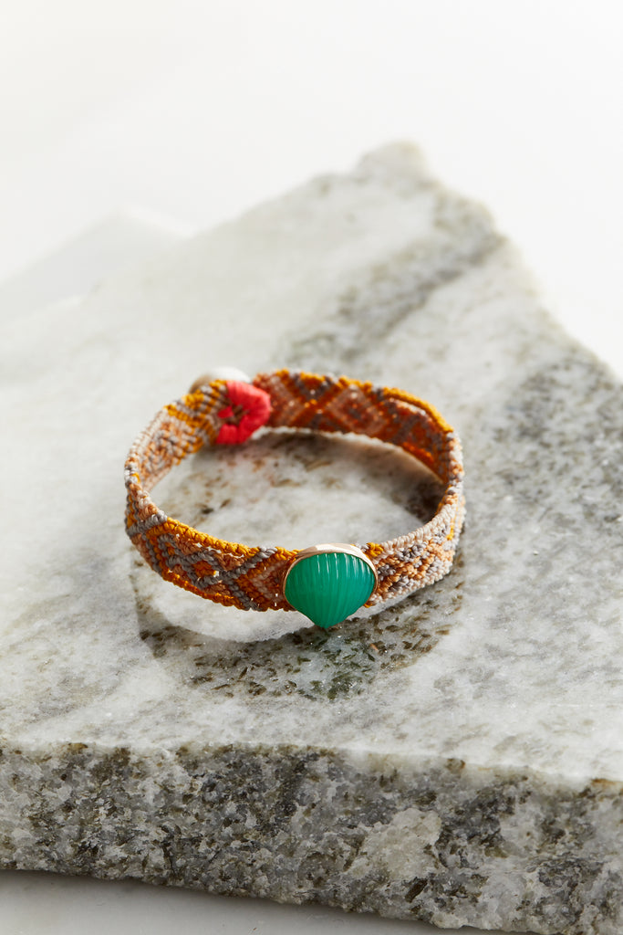 Classic Anadara Mexican Bracelet, Chrysophase Royal Sun