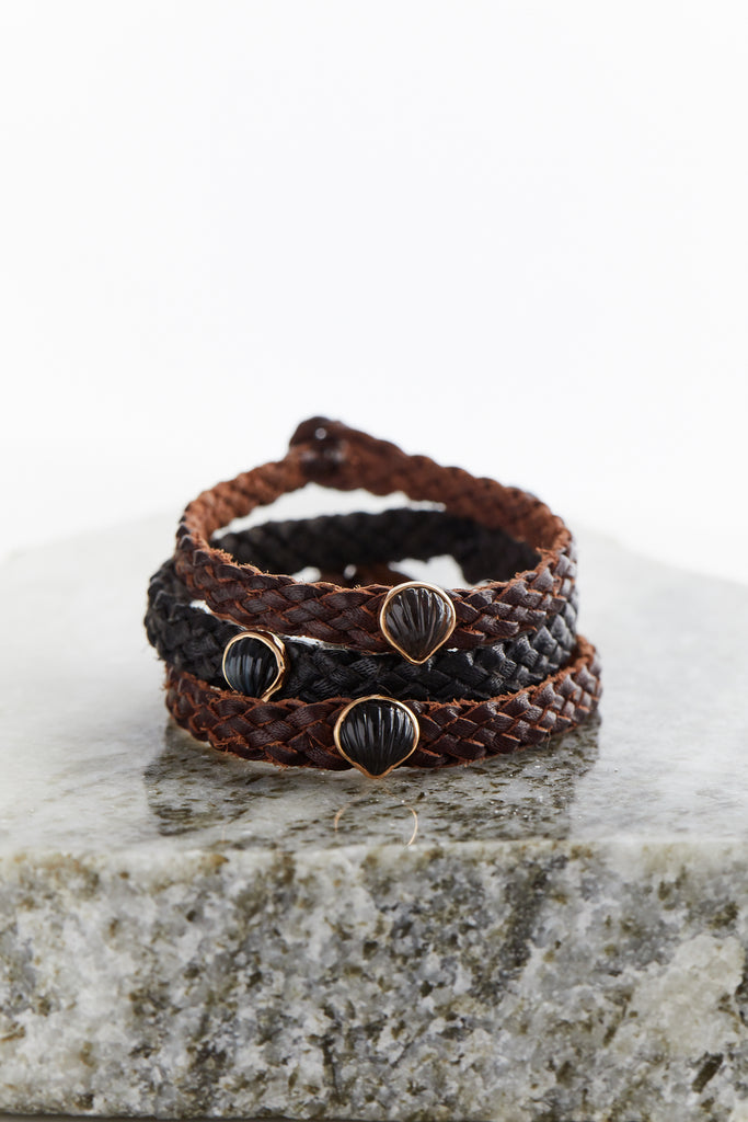 Petite Anadara on Black Leather Bracelet, Blue Tiger Eye