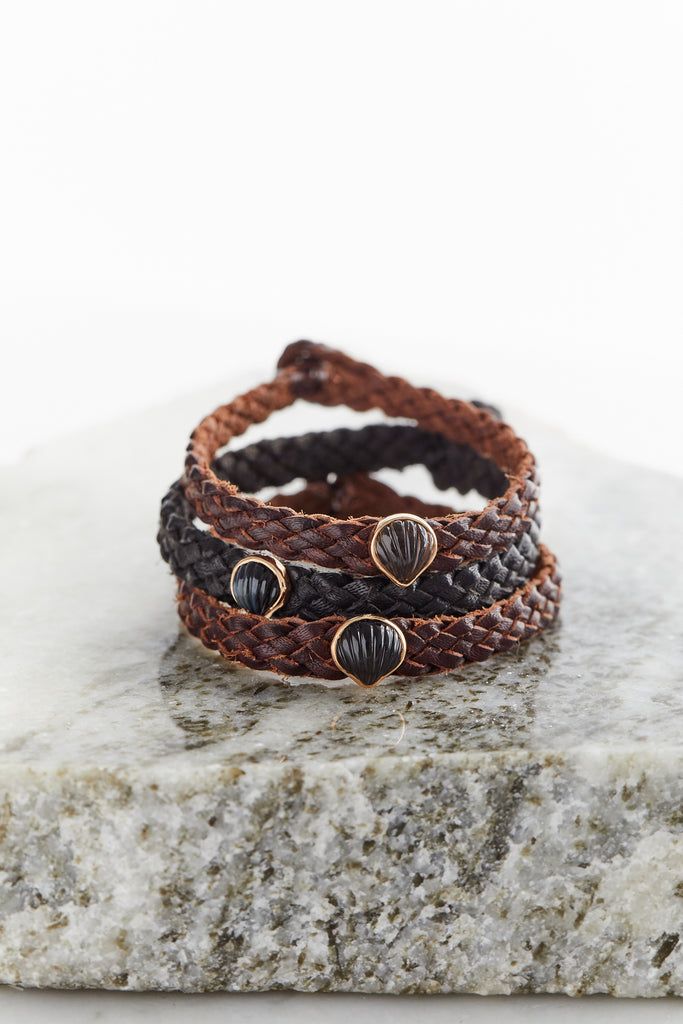 Petite Anadara on Brown Leather Bracelet, Smokey Quartz