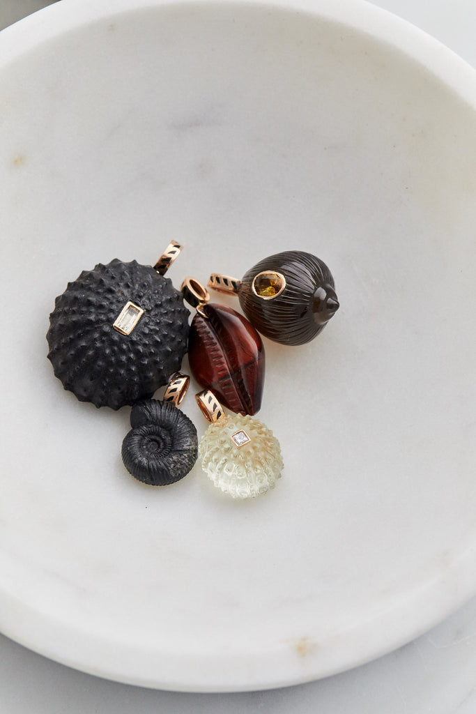 Cowry Shell Charm, Red Tiger Eye