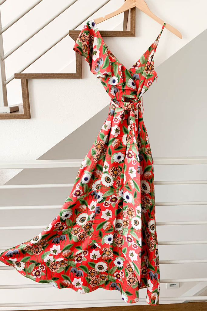 Borgo de Nor Isadora Dress Red Floral Wrap Dress