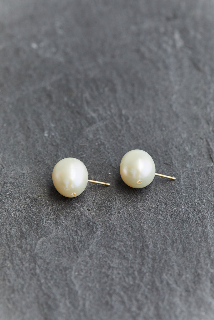 Luna Pearl & Diamond Stud, PAIR