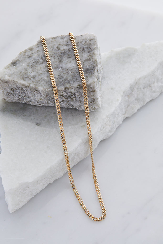 14K GOLD SMALL HOLLOW CURB CHAIN NECKLACE - 16""