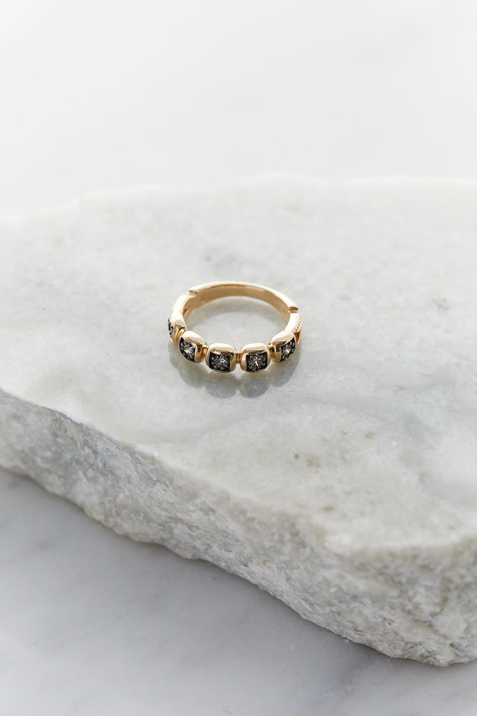 Large Ingot Band, 14k Yellow Gold & Champagne Diamonds
