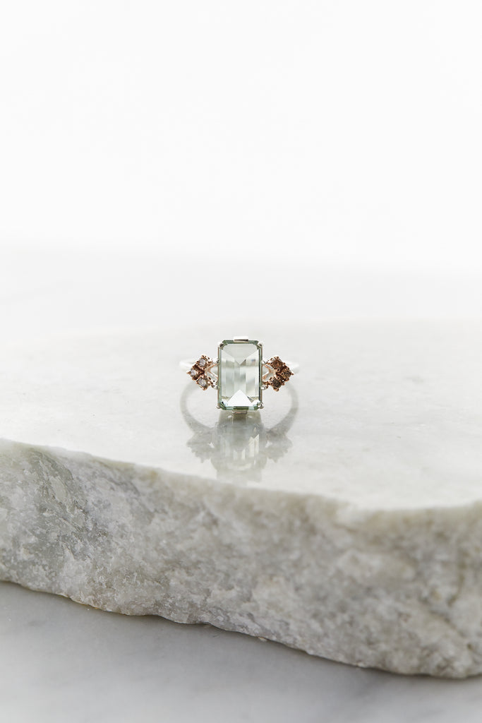 Bea Arrow Ring (Large) Green Amethyst & Champagne Diamonds