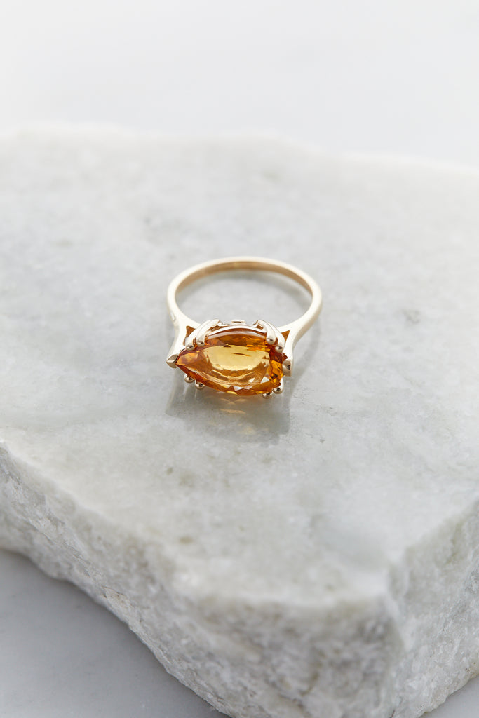 Pear Luna Ring, 14k Yellow Gold & Citrine