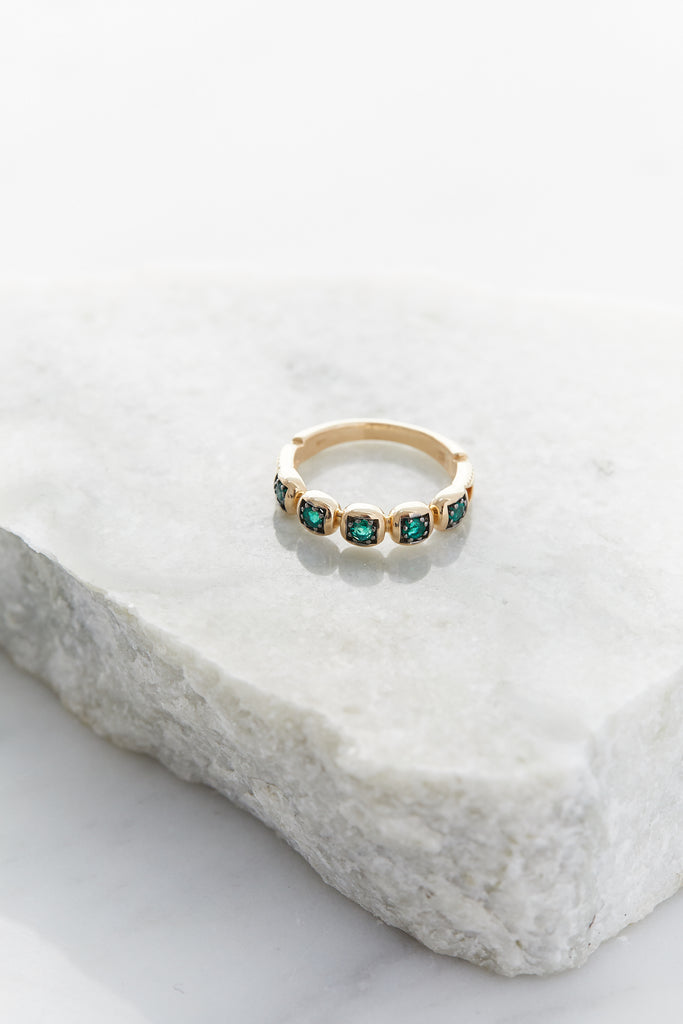 Large Ingot Band, 14k Yellow Gold & Emeralds