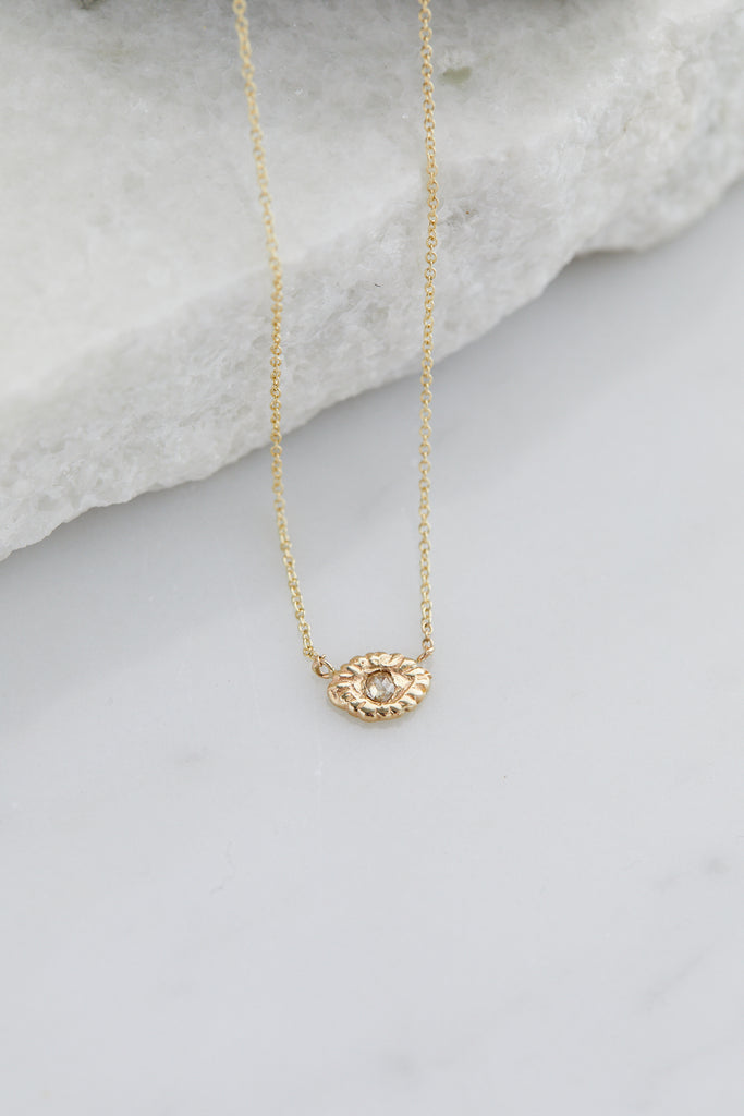 Mini Eye Of Warrior Necklace Champagne Diamond