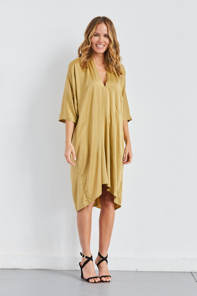 O'Keeffe Dress, Silk Charmeuse, Nile, O/S