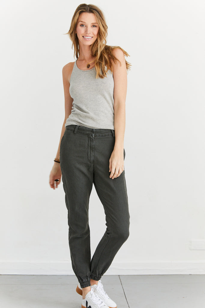 Modern Waistband Trousers Cotton Twill