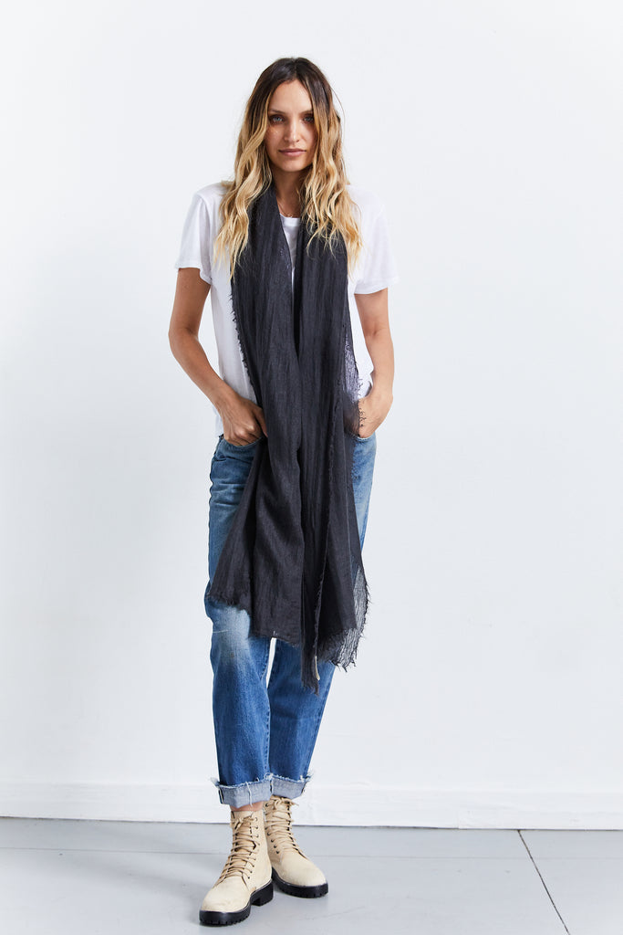 Atasa Cashmere Scarf, Pewter