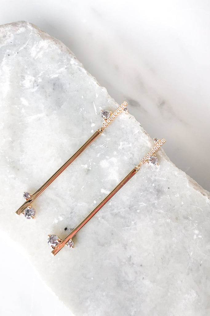 Diamond Dusted Meridian Drop Earrings PAIR