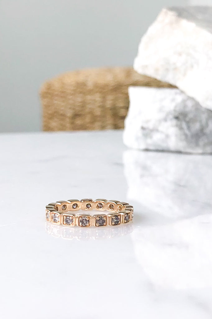 Wheat Eternity Band with Grey Diamonds 7