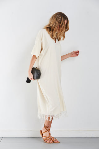 Hand Woven Caftan Dress, Crudo, O/S