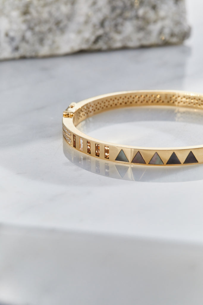Mother of Pearl and Pave Diamond Bangle