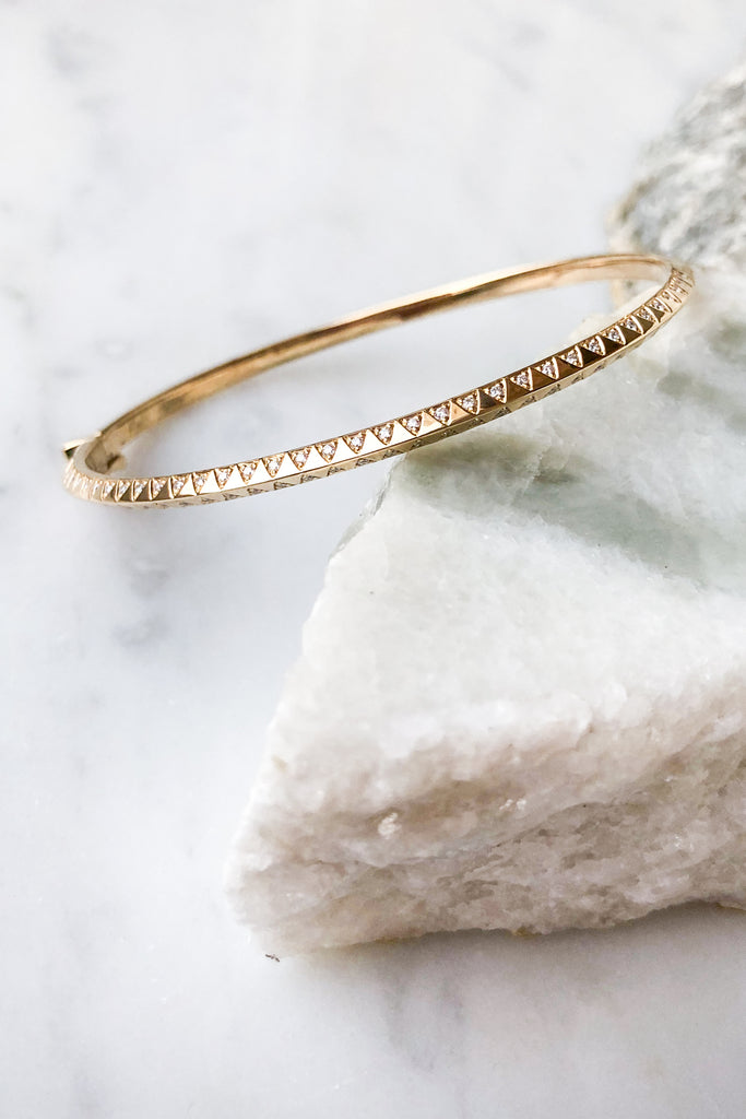 Skinny Diamond Talisman Bangle
