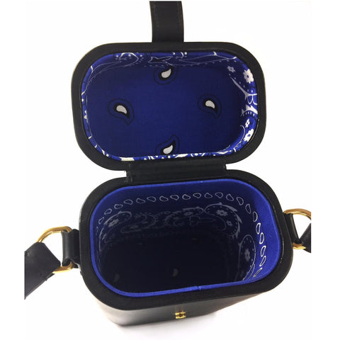Black Mini Safari Bag, Blue Interior