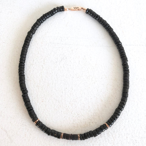 Classic Black Tourmaline + Coco Shell Shark Fin Puka, 6mm