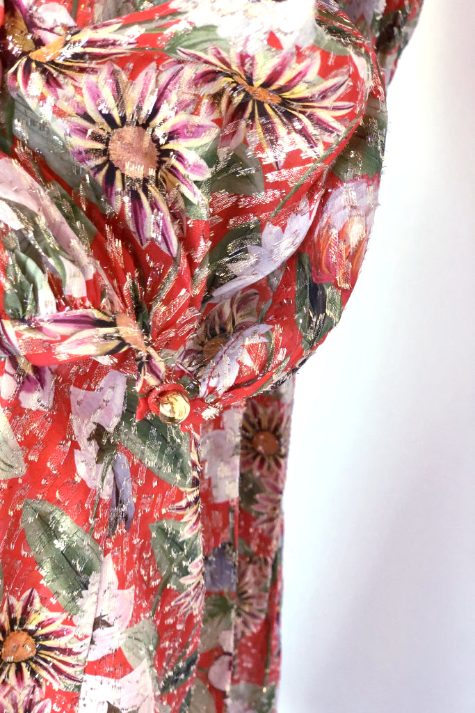 Borgo de Nor Marita Metallic Dress Red Floral