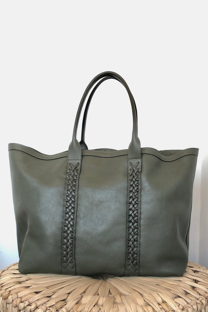 Braided Working Tote, Olive