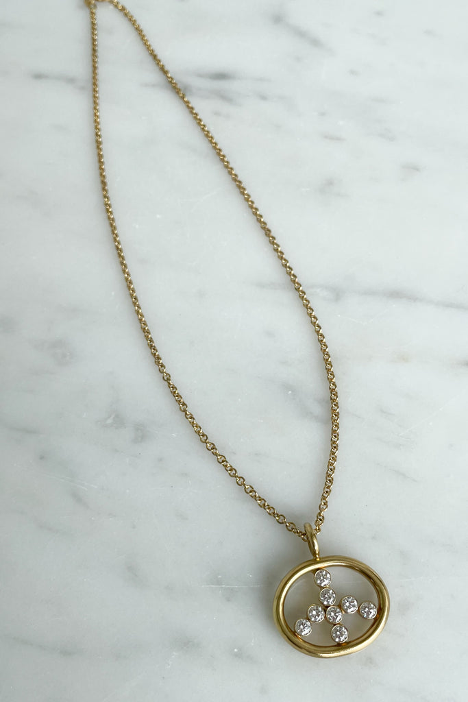 Diamond Peace Sign Necklace, 18k