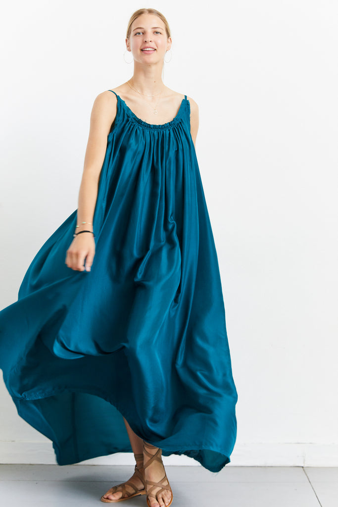Silk Gather Maxi Dress