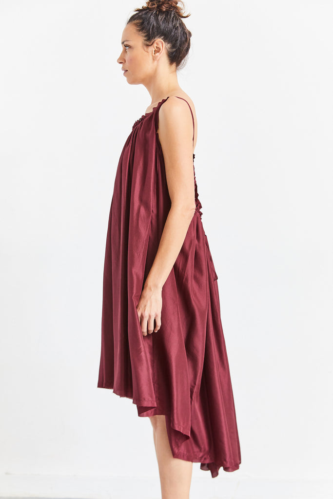 Silk Gather Shortie Dress