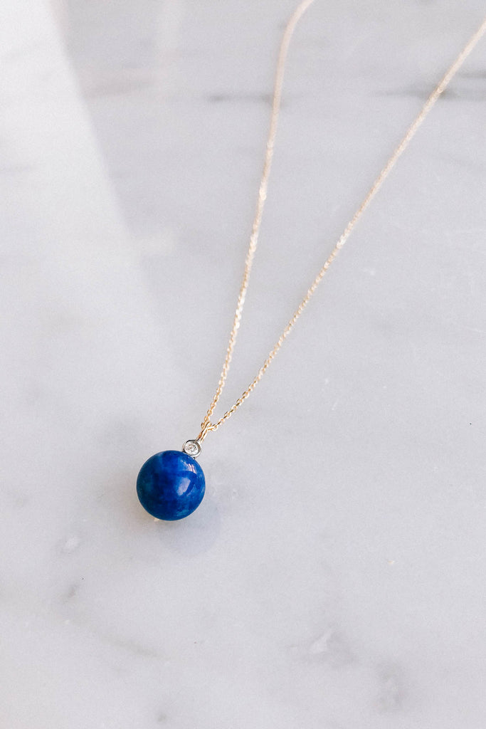 Lapis and Diamond Dot Necklace