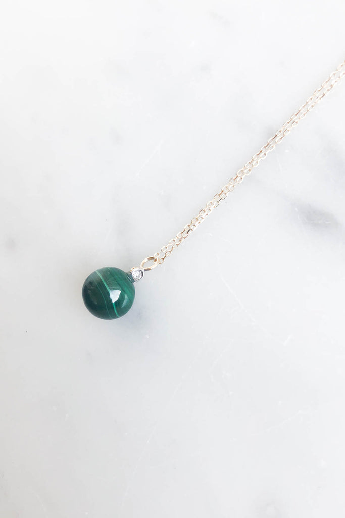 Malachite and Diamond Dot Necklace