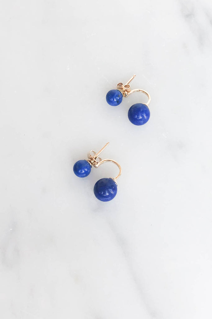 Lapis Ear Jacket Earrings