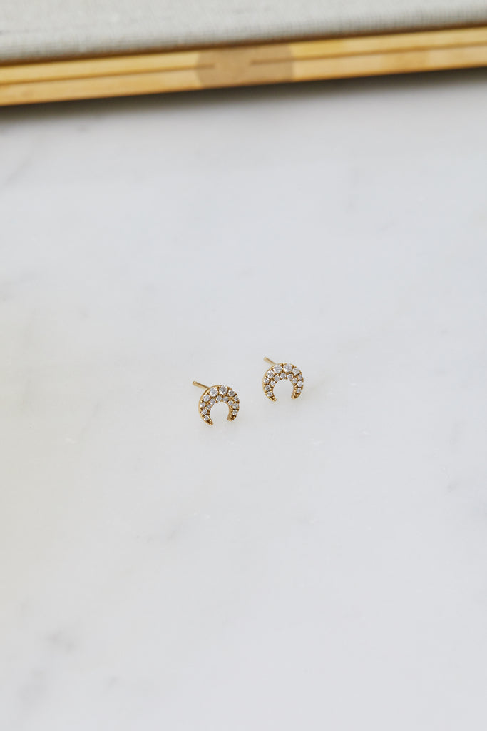 Medium Pave Diamond Crescent Moon Stud, 18kYG, SINGLE