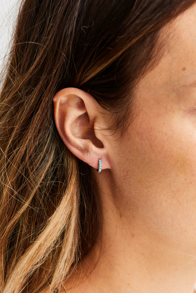 Turquoise Eternity Clicker Earring, 6.5mm