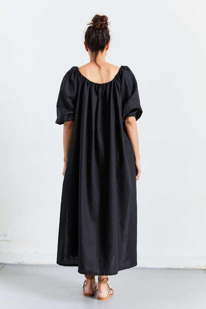 Cassat Dress Linen, Black, O/S