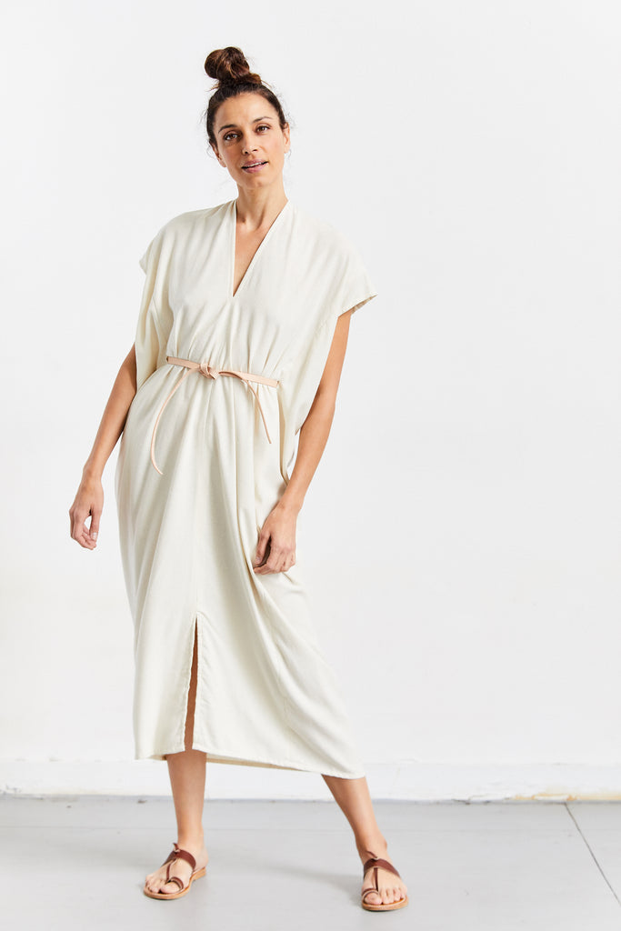 Knot Dress Silk Noil, Natural, O/S