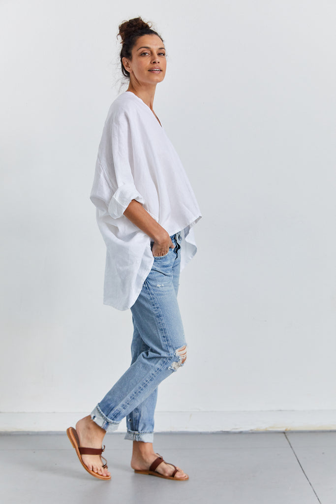 Muse Top Linen, White, O/S