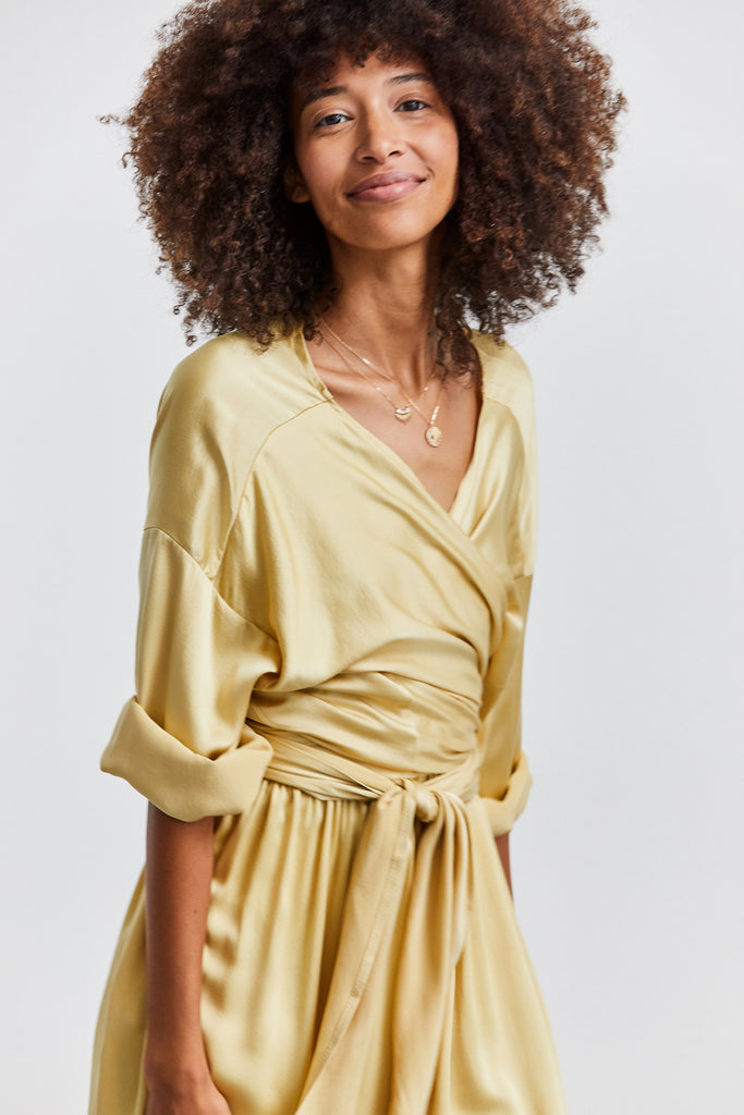Wrap Top, Silk Charmeuse, Sumatra, O/S