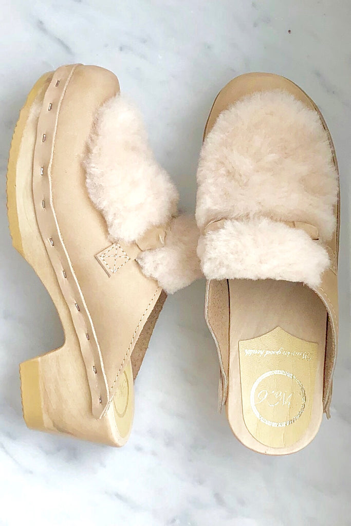 Bianca Fur Slide on Mid Heel