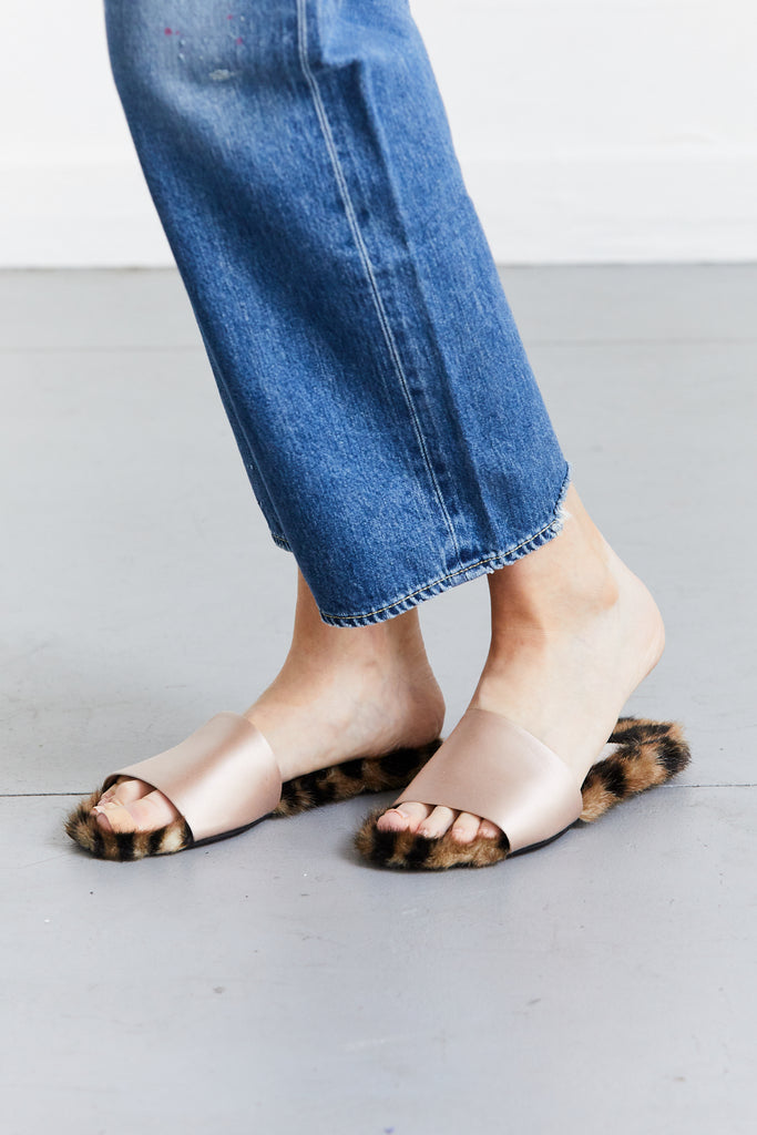 Furry Satin Slides