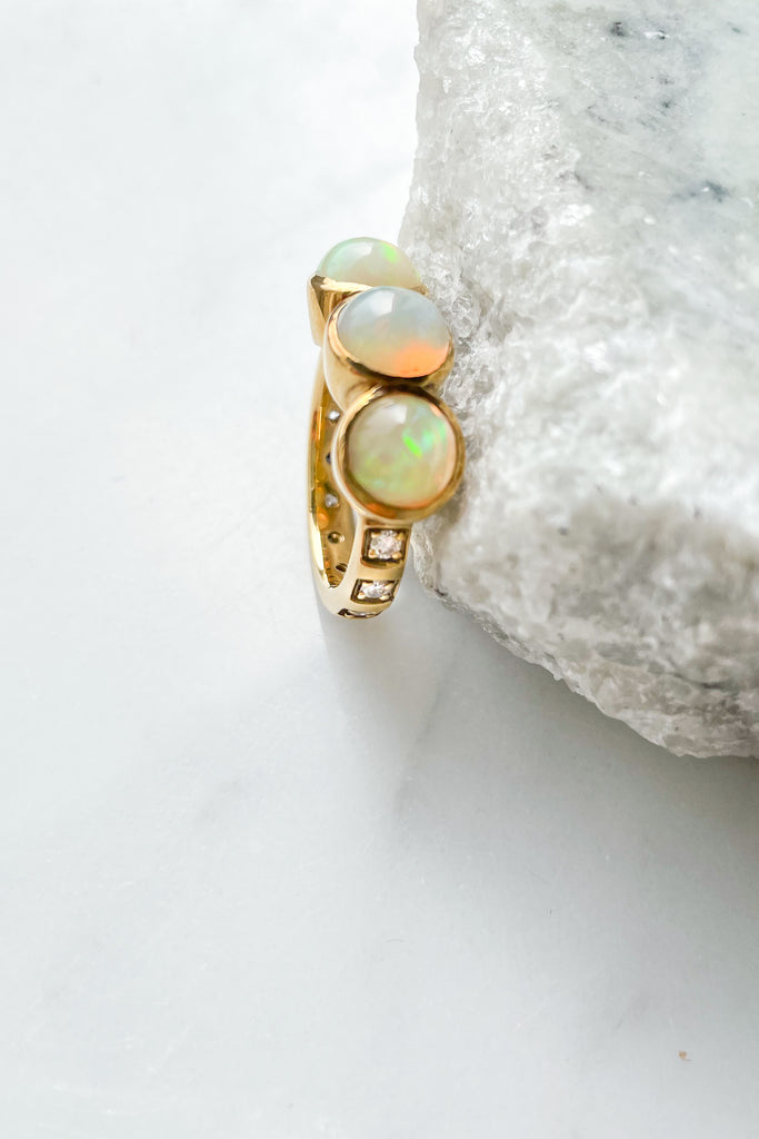 Opal Wexler Ring with Diamonds, 18k YG, Size 6.5
