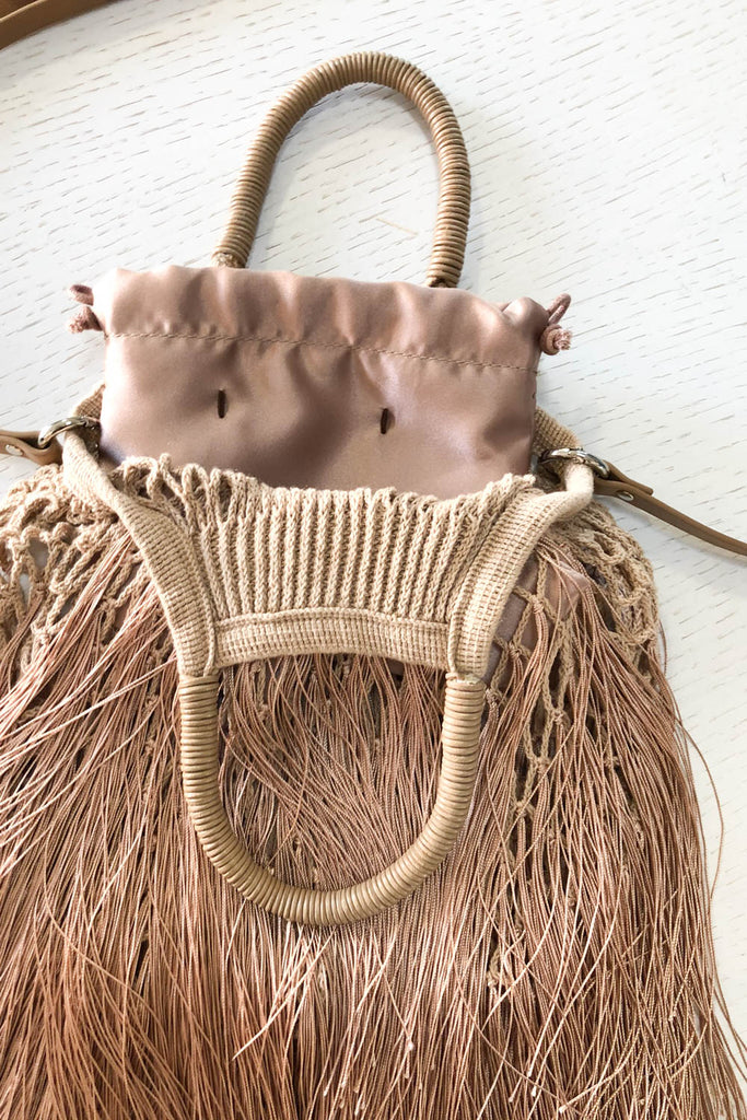 Mini Caramel Fringe Bag