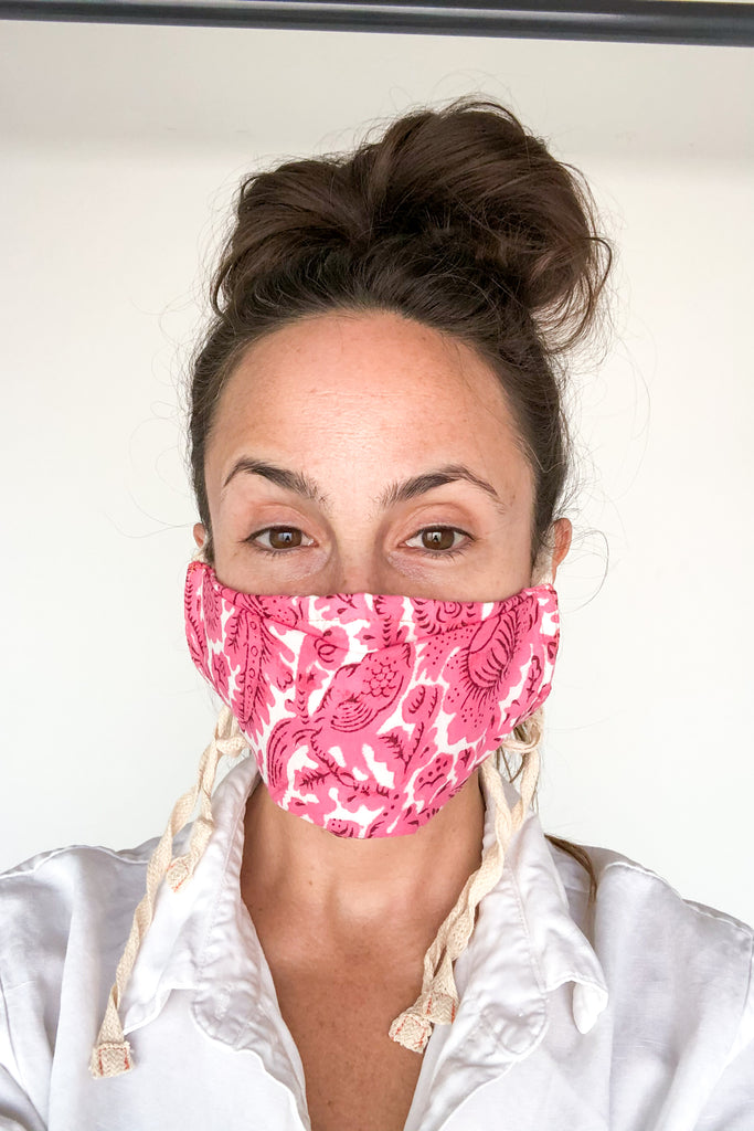 Hot Pink Birds Cotton Mask