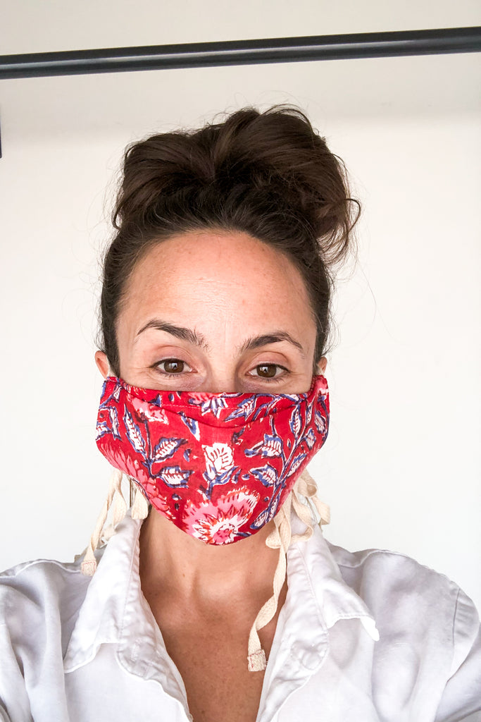 Coral Floral Cotton Mask
