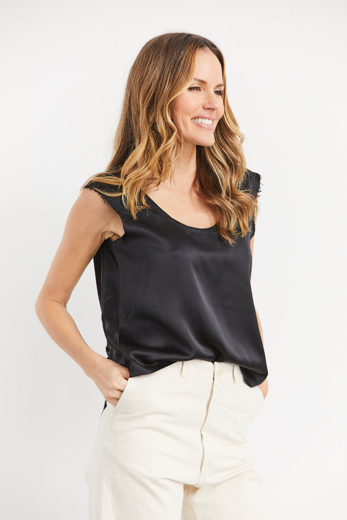 Didion Top Silk Charmeuse, Black, O/S