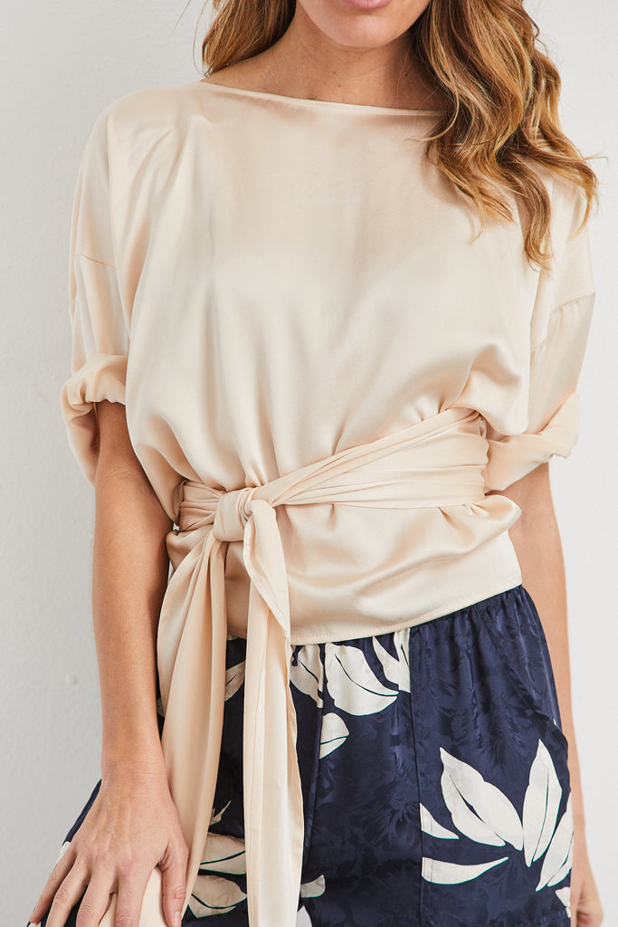 Wrap Top Silk Charmeuse, Lennon, O/S