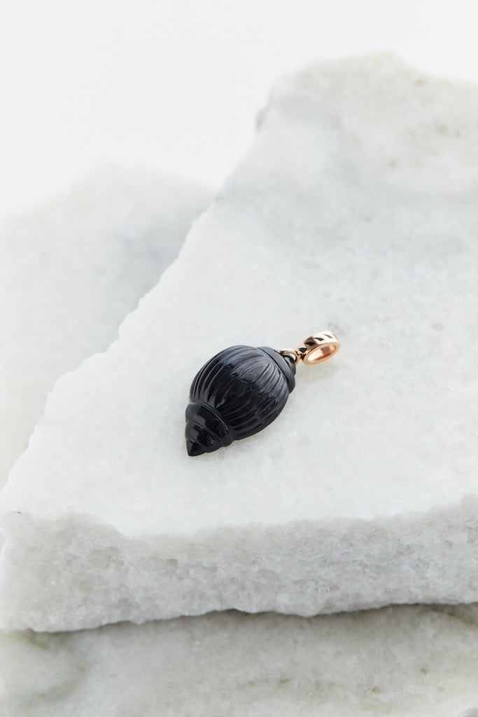 Carved Tulip Onyx Shell Charm