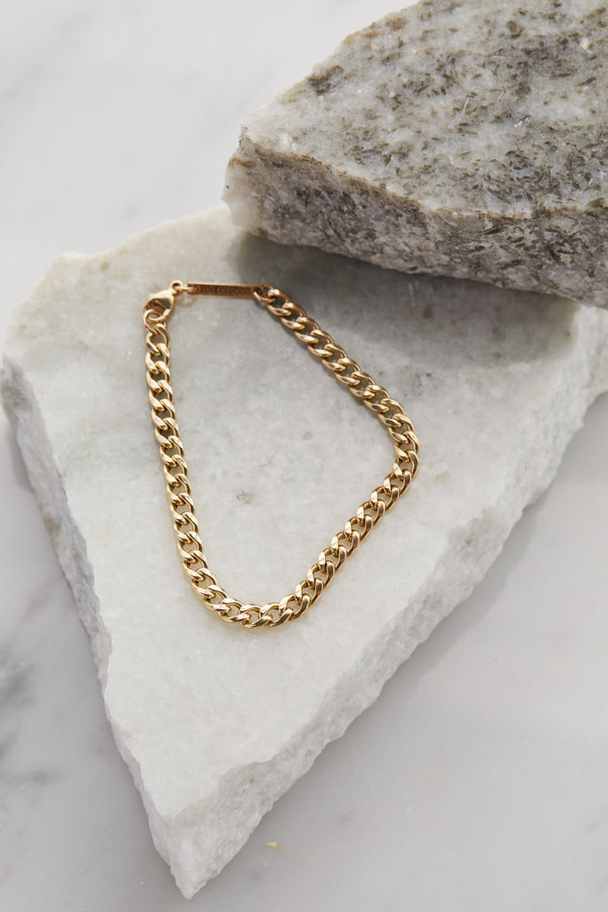 14K GOLD MEDIUM CURB CHAIN BRACELET - 6.5""