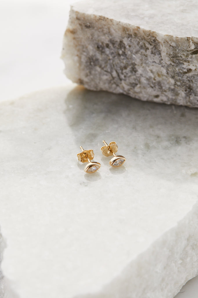 14K MARQUIS DIAMOND STUDS PAIR