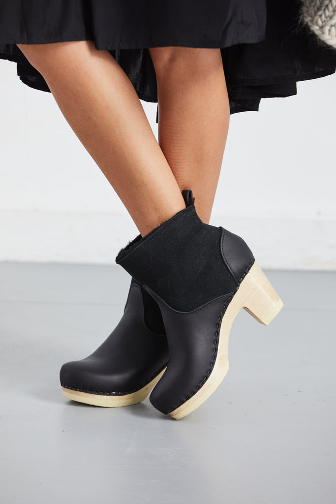 Pull On Shearling Boot on Mid Heel