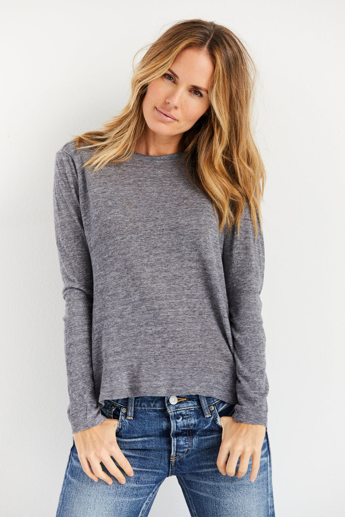 Vintage Cropped Long Sleeve Crew Tee
