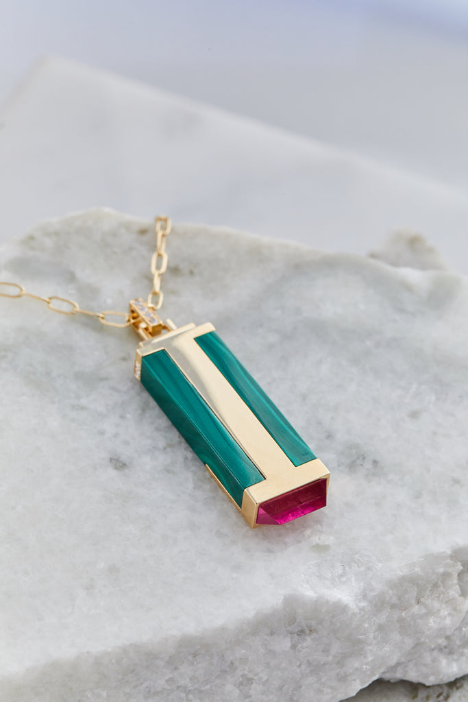 Malachite and Pink Sapphire Tablet Necklace